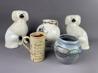Lot 30 - A PAIR OF STAFFORDSHIRE DOGS, A SUSIE COOPER VASE AND TWO JUGS