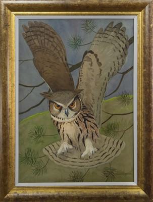 Lot 107 - EAGLE OWL, A GOUACHE  RALSTON GUDGEON