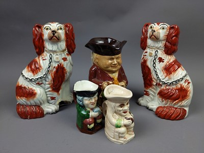 Lot 151 - A PAIR OF VICTORIAN WALLY DOGS ALONG WITH OTHER CERAMICS