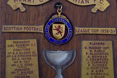 Lot 1713 - ROBERT TAIT OF HEARTS - HIS SCOTTISH FOOTBALL LEAGUE LEAGUE CUP WINNERS GOLD MEDAL 1958/59