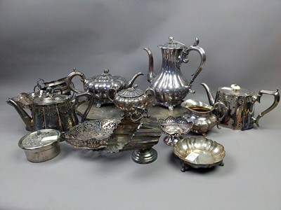 Lot 58 - A VICTORIAN SILVER PLATED FOUR PIECE TEA AND COFFEE SERVICE ALONG WITH OTHER PLATE