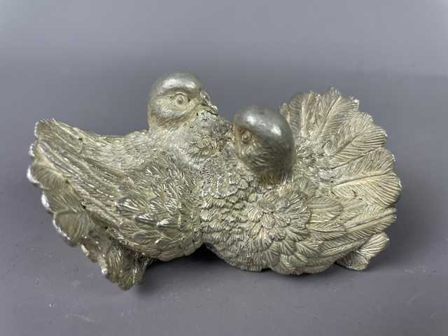 Lot 19 - A MAGRINO SILVER OVERLAID TURTLEDOVE GROUP