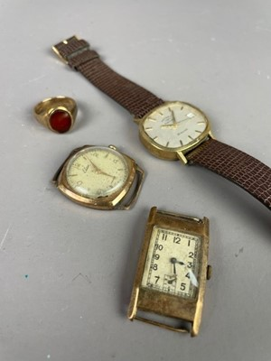 Lot 20 - A NINE CARAT GOLD SIGNET RING AND THREE WATCHES