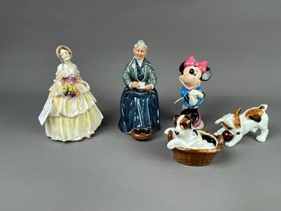 Lot 172 - A ROYAL DOULTON FIGURE OF A PUPPY IN BASKET, ALONG WITH FOUR OTHER ROYAL DOULTON FIGURES