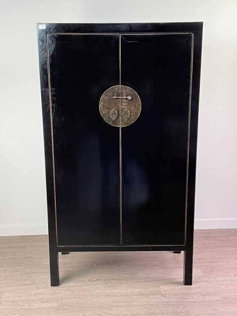 Lot 50 - AN EBONISED WARDROBE AND COFFEE TABLE IN THE CHINESE TASTE BY COACH HOUSE FURNITURE