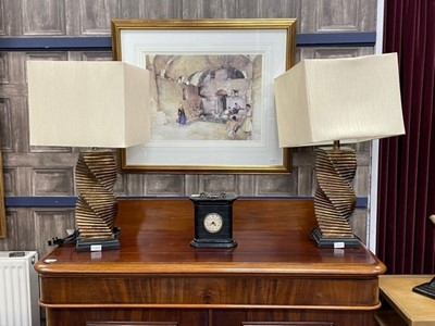 Lot 55 - A PAIR OF TABLE LAMPS BY COACH HOUSE FURNITURE AND A MANTEL CLOCK