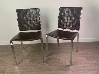 Lot 37 - A SET OF FOUR MODERNIST LEATHER AND CHROMED CHAIRS BY COACH HOUSE FURNITURE