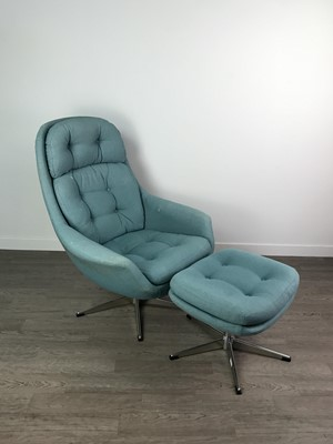 Lot 170 - A RETRO EASY CHAIR AND STOOL