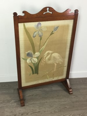 Lot 1347 - A FIRESCREEN INSET WITH A NEEDLEWORK PANEL