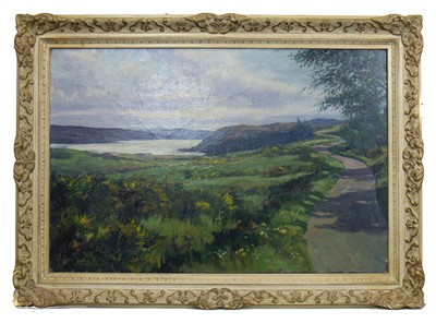Lot 672 - LOCH NESS FROM ABRIACHAN , AN OIL BY DONALD SHEARER