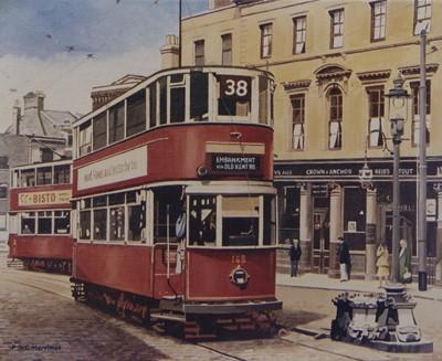Lot 495 - LONDON TRAM, A PRINT AFTER PETER ST CLAIR MERRIMAN