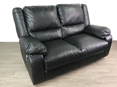 Lot 159 - A LOT OF TWO BLACK LEATHER RECLINER SETTEES
