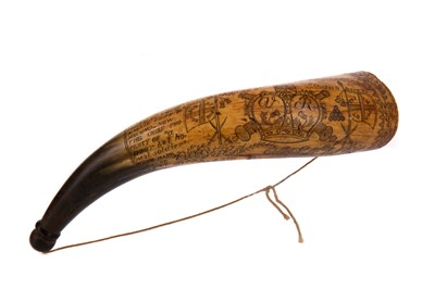 Lot 1340 - A 19TH CENTURY BRITISH SOUTH AFRICA MILITARY INTEREST HUNTING HORN
