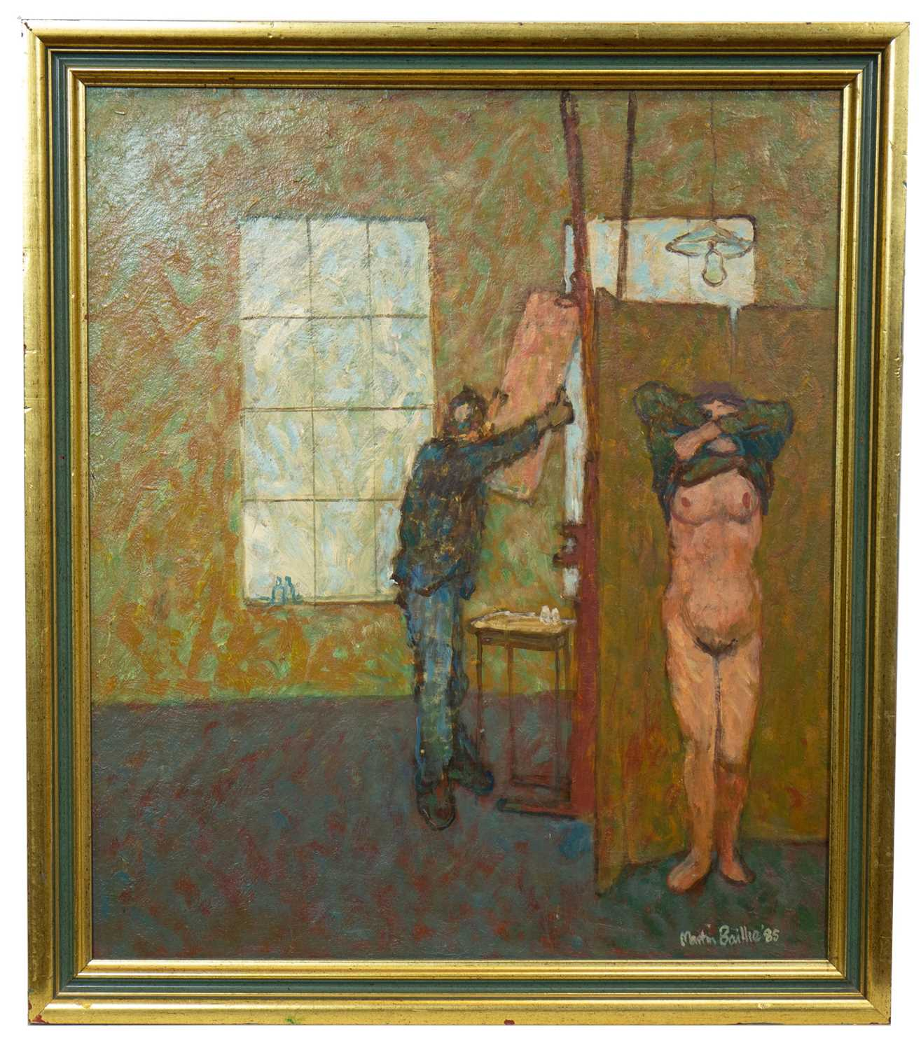 Lot 573 - PAINTER & MODEL, AN OIL BY MARTIN BAILLE