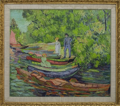 Lot 112 - ALONG THE RIVER, AN OIL BY IRENE RYLAND