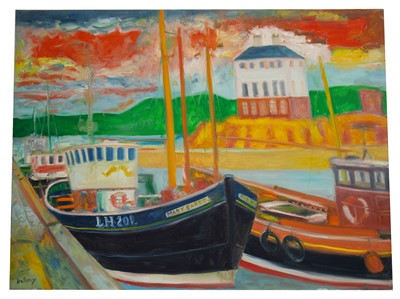 Lot 654 - THE MARY EARED AT HARBOUR, AN OIL BY JOHN BELLANY