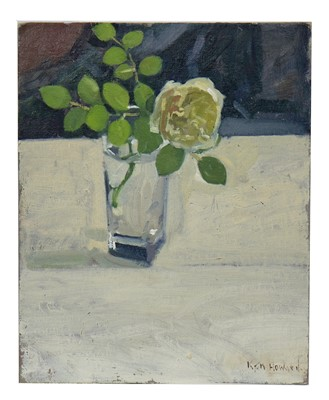 Lot 668 - STILL LIFE OF A ROSE IN A GLASS, AN OIL BY KEN HOWARD