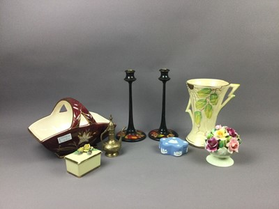 Lot 49 - AN ART DECO ARTHUR WOOD VASE AND OTHER CERAMICS AND WOOD ITEMS