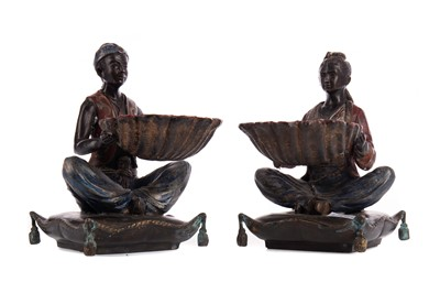 Lot 1369 - A PAIR OF COLD PAINTED BRONZED SERVING DISHES