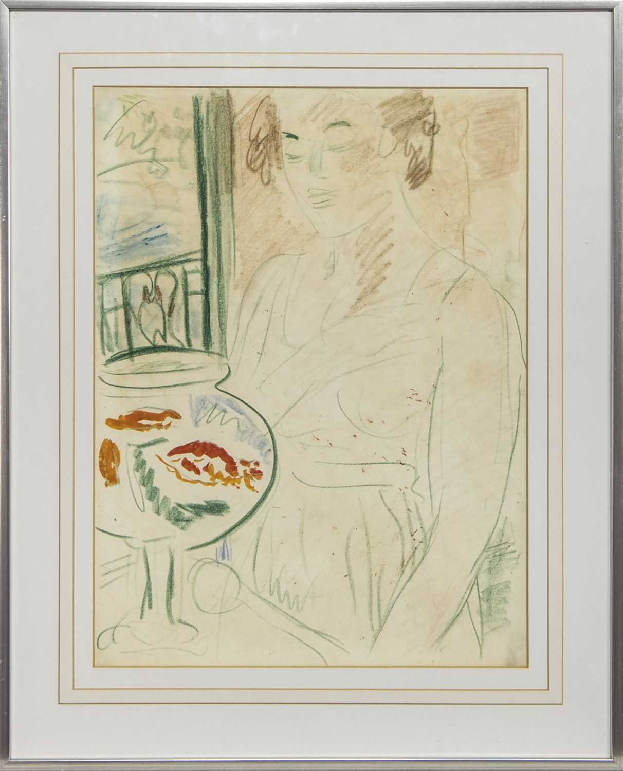 Lot 115 - THE GOLDFISH BOWL, A CRAYON BY GEORGE LESLIE HUNTER