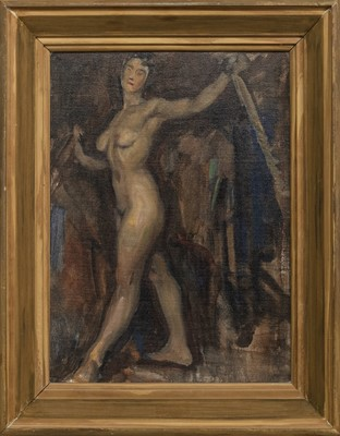 Lot 118 - STRIDING MODEL, AN OIL BY VICTOR HUME MOODY