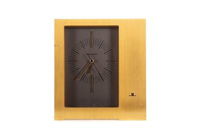 Lot 1134 - A JAEGER LECOULTRE GILT METAL MANTEL CLOCK