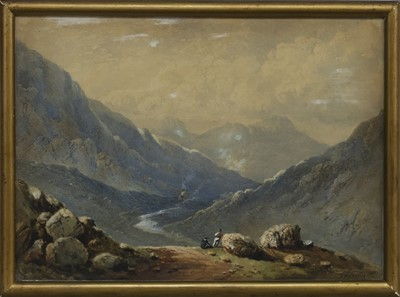 Lot 170 - BEN LOMOND FROM THE LITTLE NEST IN GLENCOE, A WATERCOLOUR BY CHARLES WOOLNOTH