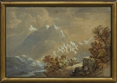 Lot 169 - RAY OF LIGHT, VIEW IN ARRAN, A WATERCOLOUR BY CHARLES WOOLNOTH