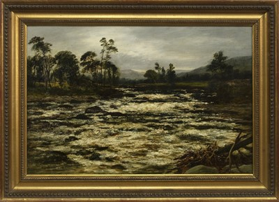 Lot 119 - ON THE ROVER DOCHART, KILLIN, PERTHSHIRE, AN OIL BY WILLIAM BEATTIE BROWN