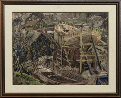 Lot 125 - BOATYARD, EYEMOUTH, AN OIL BY ALEXANDER RHIND