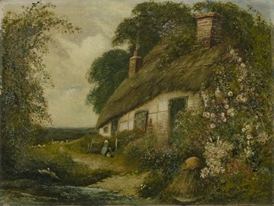 Lot 126 - A COTTAGE GARDEN, HAMPSHIRE, AN OIL BY FRED HINES