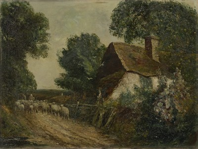 Lot 127 - A SURREY LANE, AN OIL BY FRED HINES