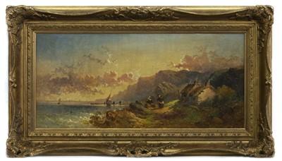 Lot 141 - COASTAL SCENE, AN OIL BY JOSEPH HORLOR