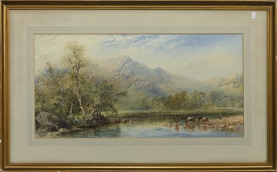 Lot 130 - CATTLE WATERING, A WATERCOLOUR BY CORNELIUS PEARSON