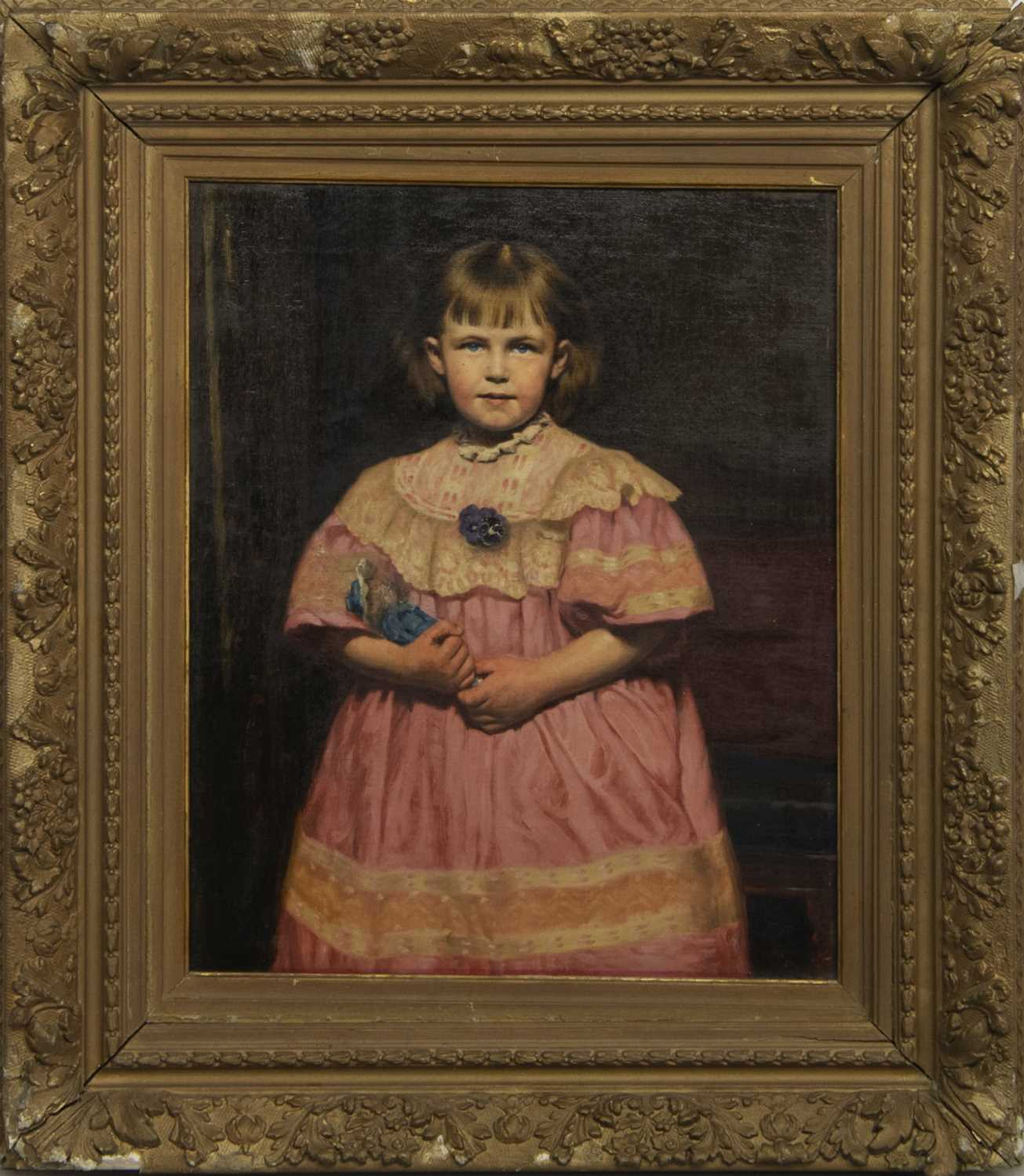 Lot 132 - THE BLUE DOLL, AN OIL BY REGINALD WILLOUGHBY MACHELL