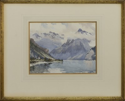 Lot 139 - HEAD OF LAKE LUCERNE, A WATERCOLOUR BY CHARLES OPPENHEIMER