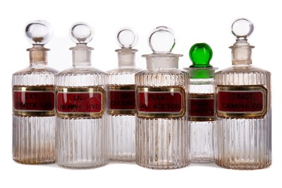 Lot 1144 - TEN LATE 19TH / EARLY 20TH CENTURY PHARMACEUTICAL 'POISON' BOTTLES