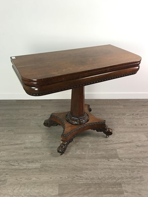 Lot 1361 - A WILLIAM IV ROSEWOOD TURNOVER TEA TABLE