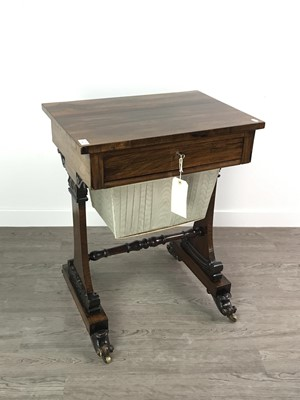 Lot 1362 - A GEORGE IV ROSEWOOD SEWING TABLE