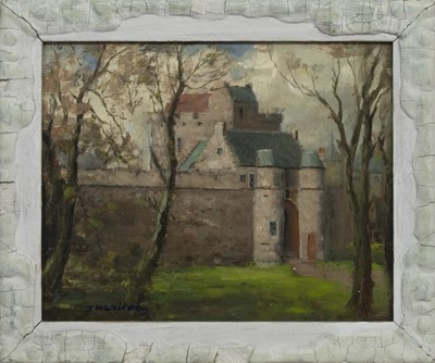 Lot 143 - BEHIND THE DEAN CASTLE, KILMARNOCK, AN OIL BY JOHN MCNICOL