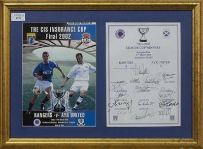 Lot 1720 - RANGERS F.C. INTEREST - LEAGUE CUP WINNERS 2001/02 COMMEMORATIVE DISPLAY