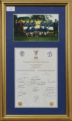 Lot 1723 - RANGERS F.C. INTEREST - EUROPEAN CUP WINNERS CUP FINAL 1972 COMMEMORATIVE DISPLAY