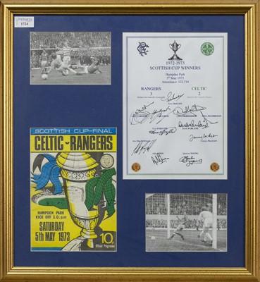 Lot 1724 - RANGERS F.C. INTEREST - SCOTTISH CUP WINNERS 1972/73 COMMEMORATIVE DISPLAY