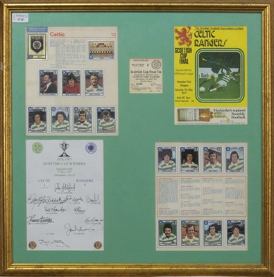 Lot 1728 - CELTIC F.C. INTEREST - SCOTTISH CUP WINNERS 1976/77 COMMEMORATIVE DISPLAY