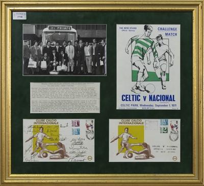 Lot 1730 - CELTIC F.C. INTEREST - VS. CLUB NACIONAL DE FOOTBALL 1971 CHALLENGE MATCH COMMEMORATIVE DISPLAY
