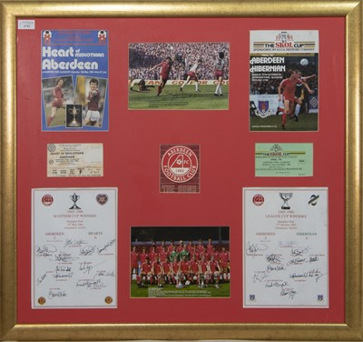 Lot 1733 - ABERDEEN F.C. INTEREST - SCOTTISH CUP AND LEAGUE CUP WINNERS 1985/86 COMMEMORATIVE DISPLAY