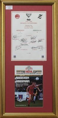 Lot 1734 - ABERDEEN F.C. INTEREST - SCOTTISH LEAGUE CUP WINNERS 1985/86 COMMEMORATIVE DISPLAY