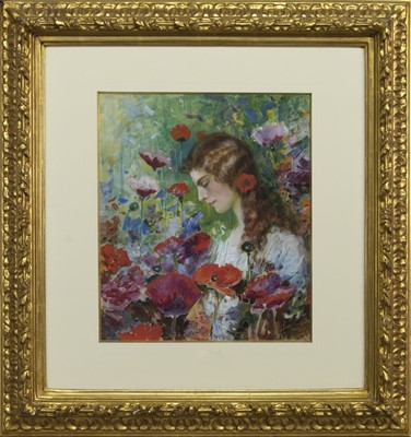 Lot 153 - GIRL AMONG THE FLOWERS, A WATERCOLOUR BY A B WHITE