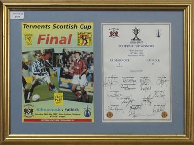 Lot 1740 - KILMARNOCK F.C. INTEREST - SCOTTISH CUP WINNERS 1996/97 COMMEMORATIVE DISPLAY