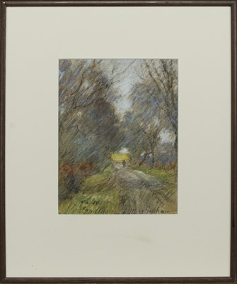 Lot 163 - COUNTRY PATH, A PASTEL BY PATRICK WILLIAM ADAM